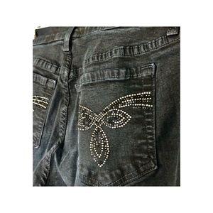 NYDJ Jeans Size 8 Black Embellished Pockets Booth